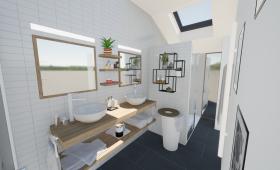 Plan 3D du projet - Création d'une salle de bains à Bouguenais